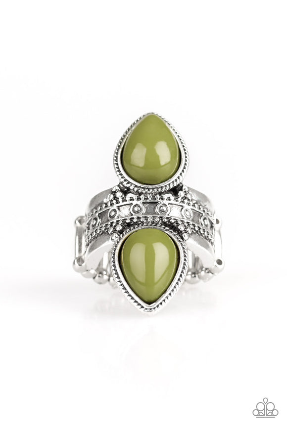 New Age Leader Green Ring - Paparazzi Accessories - jazzy-jewels-gems