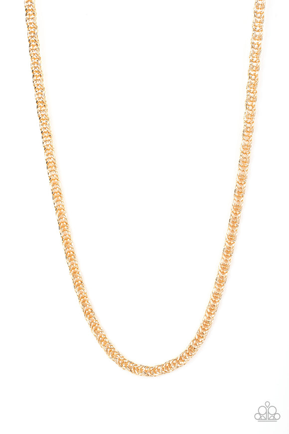 Go Down Fighting Gold Urban Necklace - Paparazzi Accessories