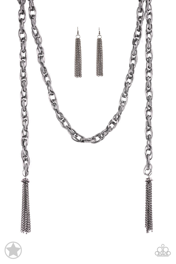 SCARFed for Attention Gunmetal Blockbuster Necklace - Paparazzi Accessories - jazzy-jewels-gems