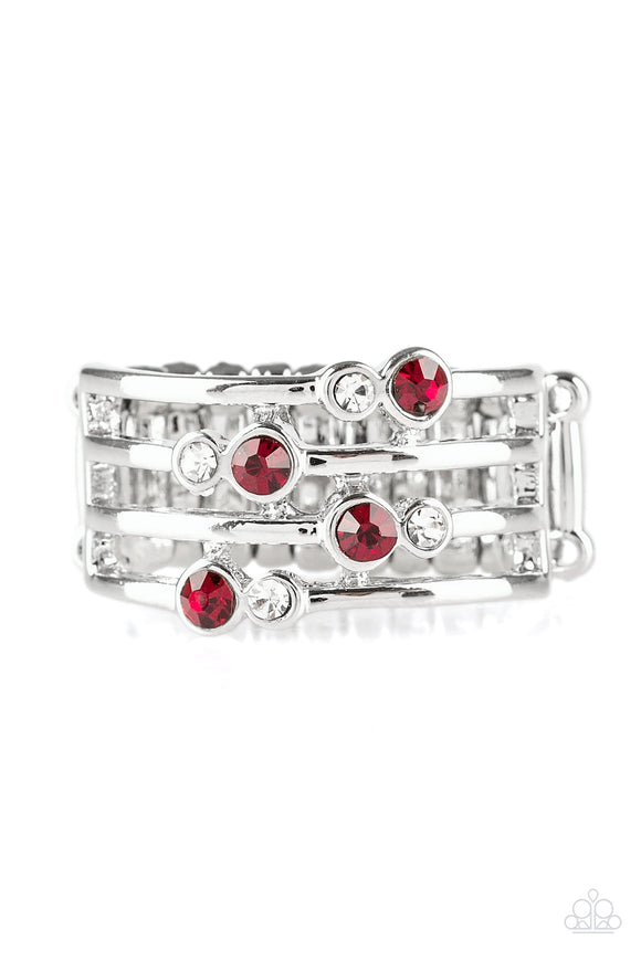 Sparkle Showdown Red Ring - Paparazzi Accessories