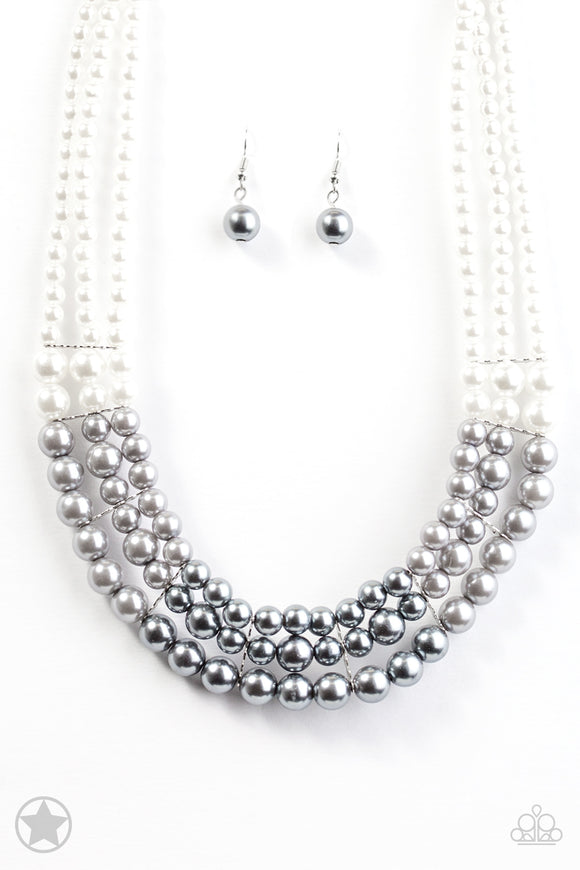 Lady In Waiting Pearl Blockbuster Necklace - Paparazzi Accessories - jazzy-jewels-gems