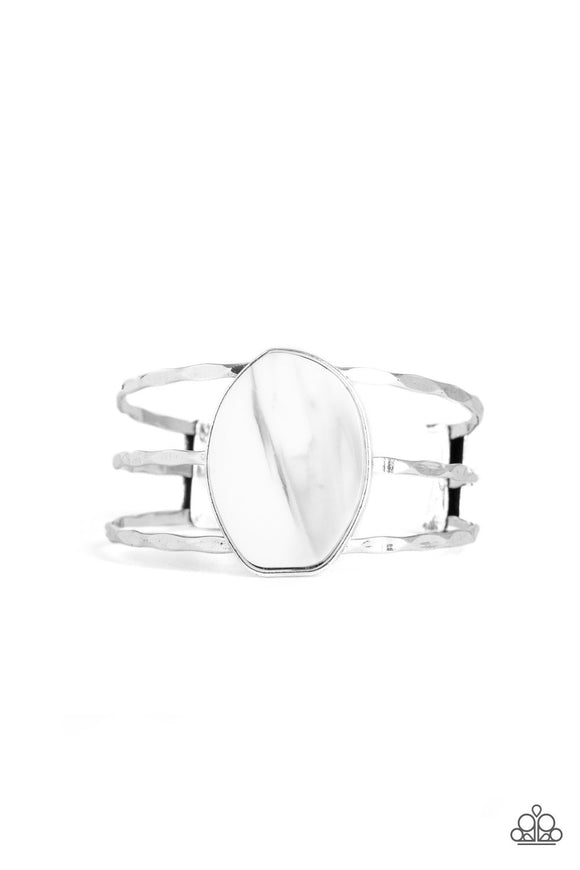 Canyon Dream White Acrylic Cuff Bracelet - Paparazzi Accessories