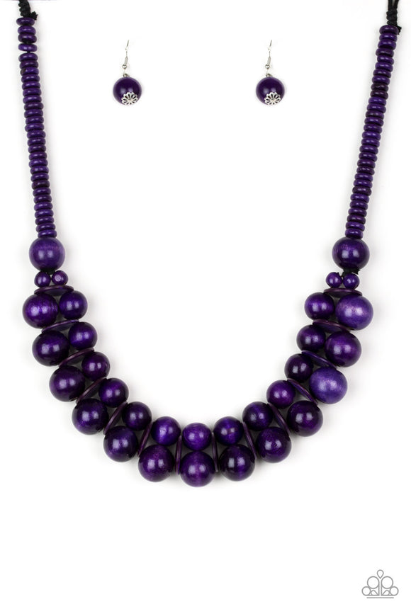 Caribbean Cover Girl Purple Wooden Necklace - Paparazzi Accessories