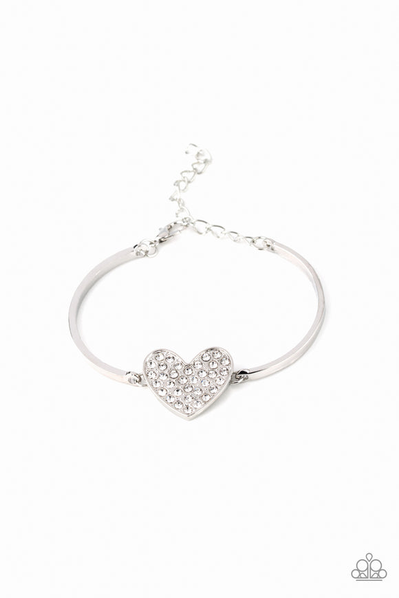 Heart-Stopping Shimmer White Bracelet - Paparazzi Accessories