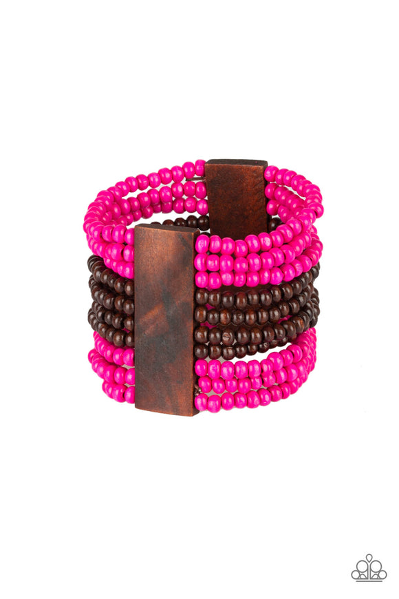 JAMAICAN Me Jam Pink Wooden Bracelet - Paparazzi Accessories - jazzy-jewels-gems