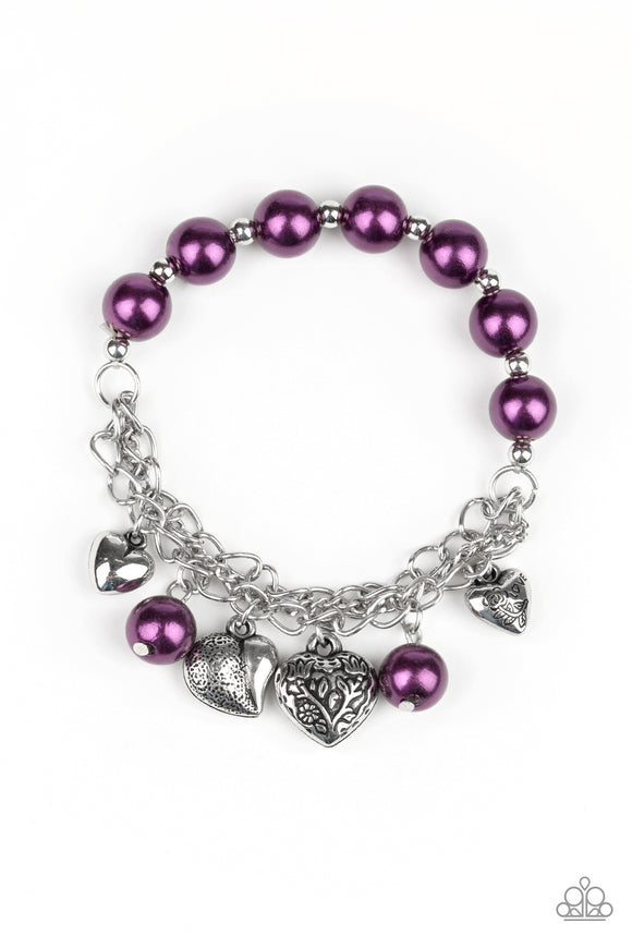 More Amour Purple Charm Bracelet - Paparazzi Accessories