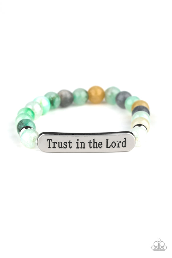Trust Always Green Bracelet - Paparazzi Accessories - jazzy-jewels-gems