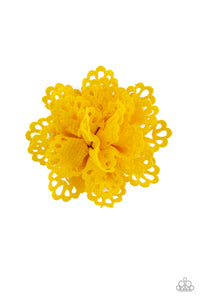 Springing Into Spring Yellow Hair Clip - Paparazzi Accessories - jazzy-jewels-gems