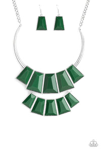 Lions, TIGRESS, and Bears Green Necklace - Paparazzi Accessories - jazzy-jewels-gems