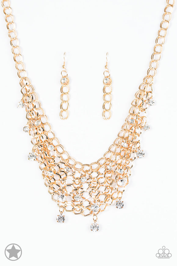 Fishing for Compliments Gold Blockbuster Necklace - Paparazzi Accessories - jazzy-jewels-gems