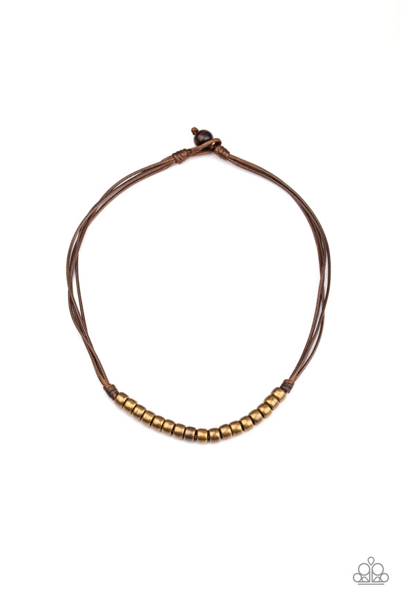 On The TREASURE Hunt Brown Urban Necklace - Paparazzi Accessories