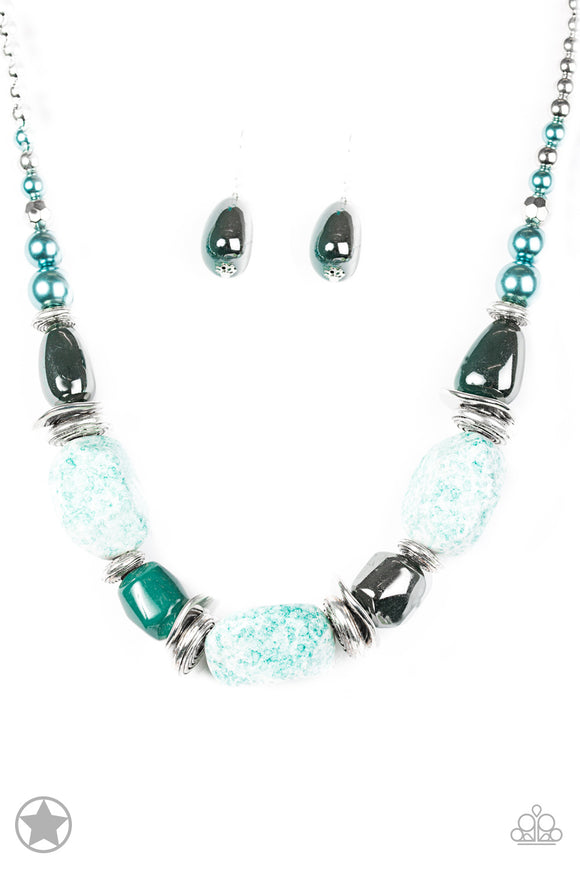 In Good Glazes Blue Blockbuster Necklace - Paparazzi Accessories - jazzy-jewels-gems