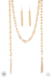 SCARFed for Attention Gold Blockbuster Necklace - Paparazzi Accessories - jazzy-jewels-gems