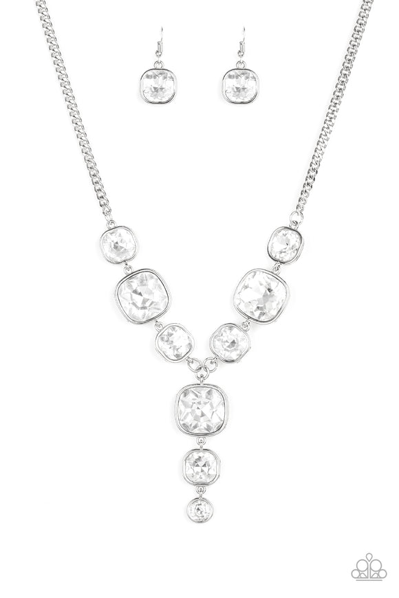 Legendary Luster White Rhinestone EMP Exclusive Necklace - Paparazzi Accessories