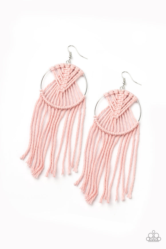 MACRAME, Myself, and I Pink Earring - Paparazzi Accessories