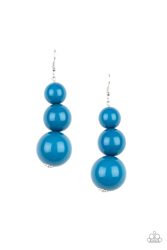 Material World Blue Earring - Paparazzi Accessories - jazzy-jewels-gems
