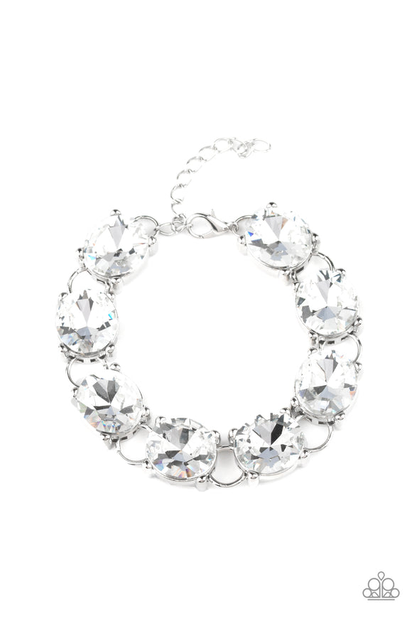 Mind Your Manners White Rhinestone Bracelet - Paparazzi Accessories