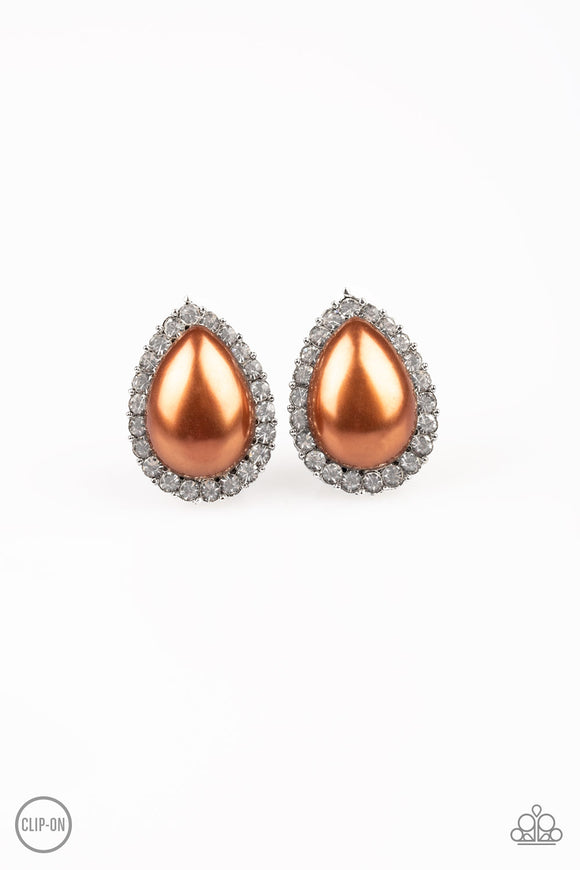 Old Hollywood Opulence Brown Clip-On Earring - Paparazzi Accessories