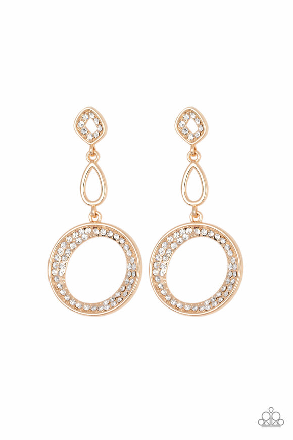 On The Glamour Scene Gold Earring - Paparazzi Accessories