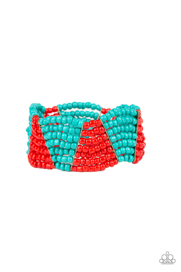 Outback Outing Red Seed Bead Bracelet - Paparazzi Accessories
