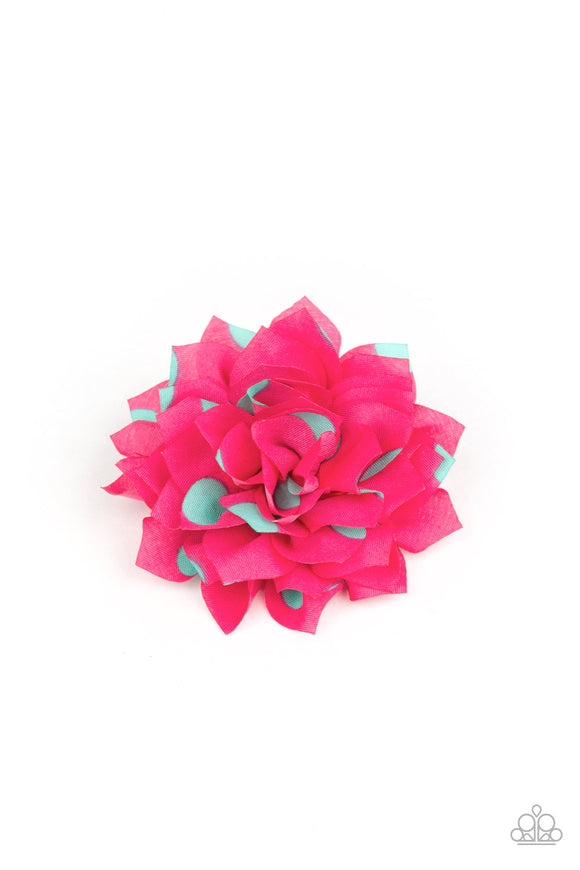 Polka Perfection Pink/Green Hair Clip - Paparazzi Accessories
