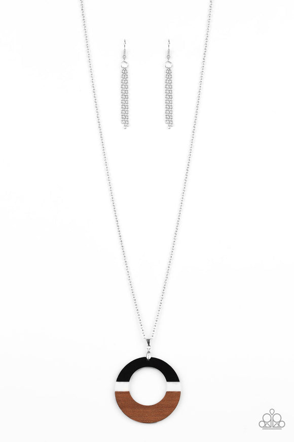 Sail Into The Sunset Black Wooden Necklace - Paparazzi Accessories