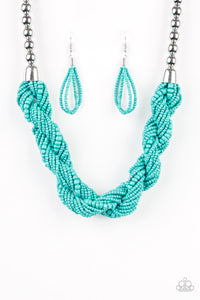 Savannah Surfin Blue Seed Bead Necklace - Paparazzi Accessories - jazzy-jewels-gems