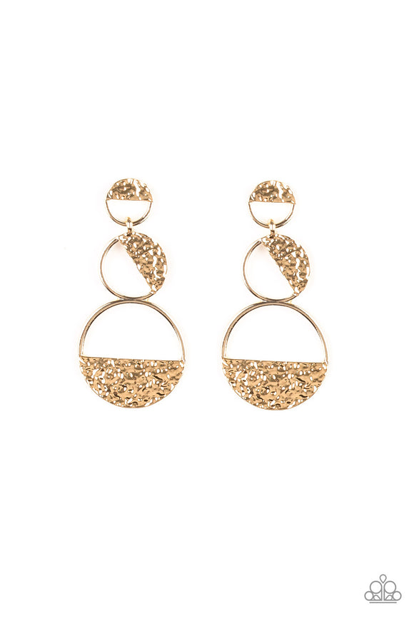 Triple Trifecta Gold Earring - Paparazzi Accessories - jazzy-jewels-gems