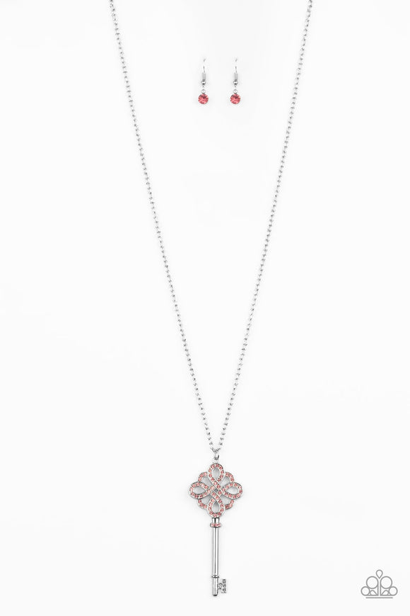 Unlocked Pink Key Necklace - Paparazzi Accessories