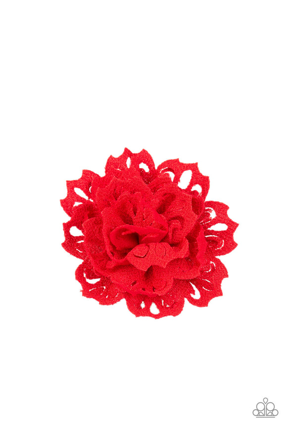 Adventurous Azalea Red Hair Clip - Paparazzi Accessories - jazzy-jewels-gems