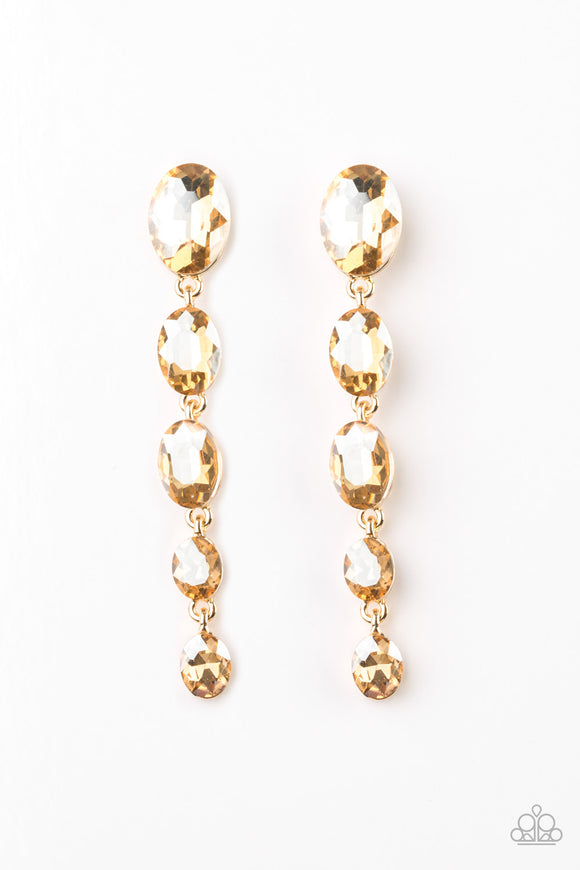 Red Carpet Radiance Gold Earring - Paparazzi Accessories - jazzy-jewels-gems