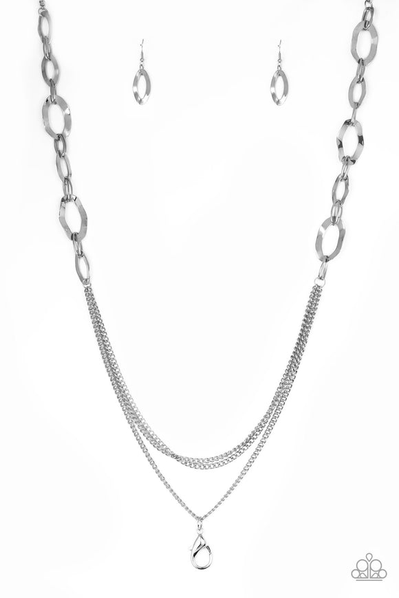 Street Beat Silver Lanyard - Paparazzi Accessories