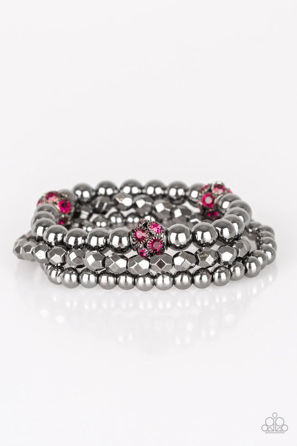 Noticeably Noir Pink Bracelet - Paparazzi Accessories