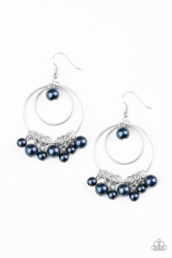 New York Attraction Blue Earring - Paparazzi Accessories