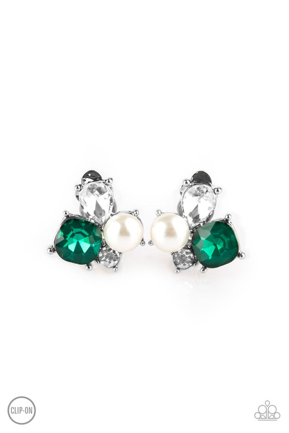 Highly High-Class Green Clip-On Earring - Paparazzi Accessories