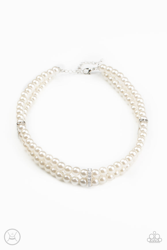 Put On Your Party Dress White Necklace - Paparazzi Accessories