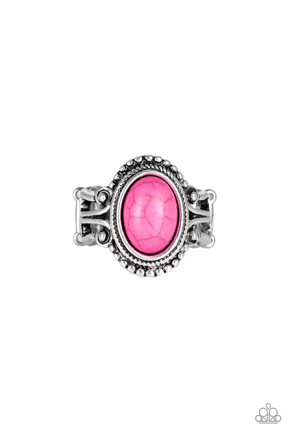 All The Worlds A STAGECOACH Pink Ring - Paparazzi Accessories