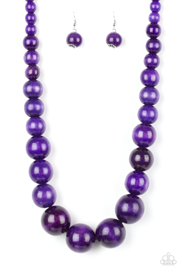 Effortlessly Everglades Purple Wooden Necklace - Paparazzi Accessories - jazzy-jewels-gems