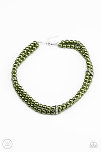 Put On Your Party Dress Green Pearl Necklace - Paparazzi Accessories