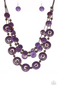 Catalina Coastin Purple Wooden Necklace - Paparazzi Accessories