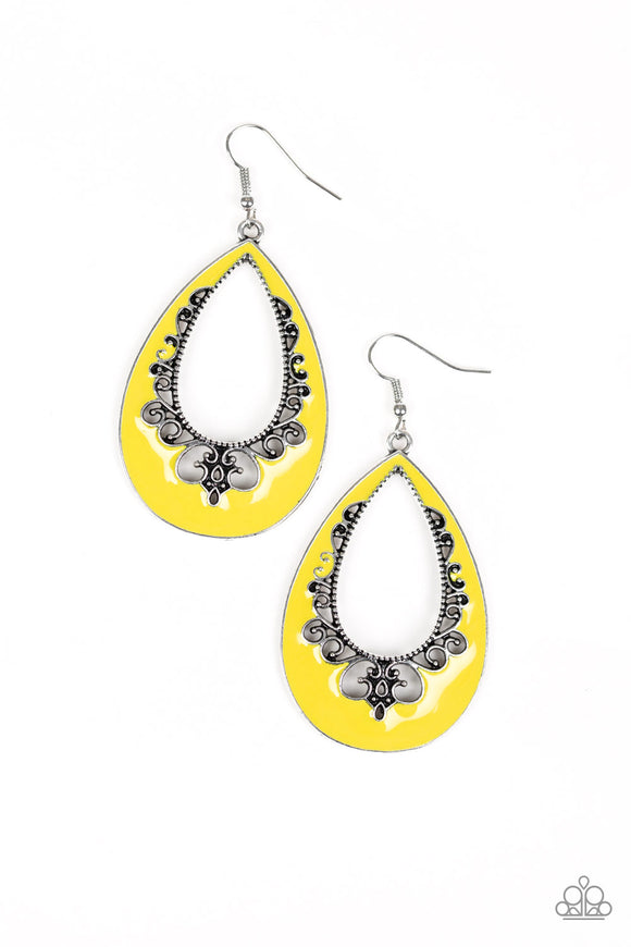 Compliments To The CHIC Yellow Earring - Paparazzi Accessories