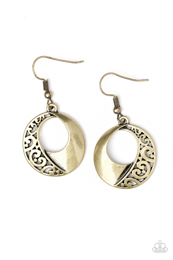 Eastside Excursionist Brass Earring - Paparazzi Accessories