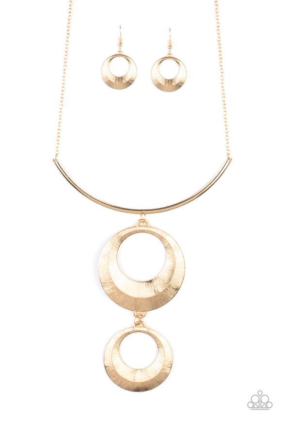 Egyptian Eclipse Gold Necklace - Paparazzi Accessories