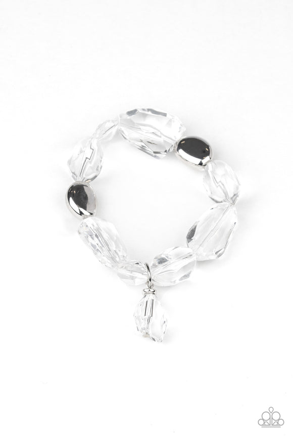 Gemstone Glamour White Bracelet - Paparazzi Accessories