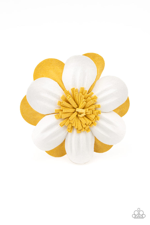 Merry Magnolia Yellow Hair Clip - Paparazzi Accessories
