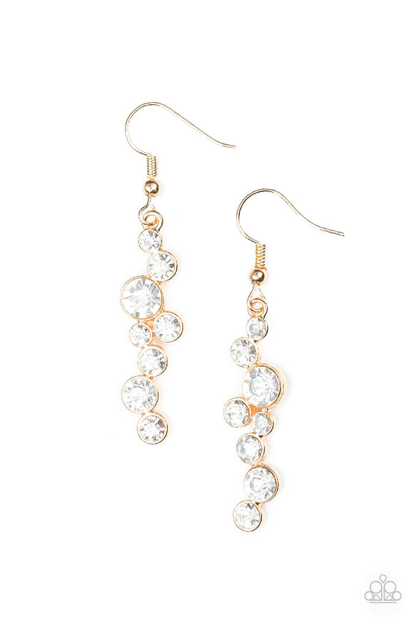 Milky Way Magnificence Gold Earring - Paparazzi Accessories - jazzy-jewels-gems
