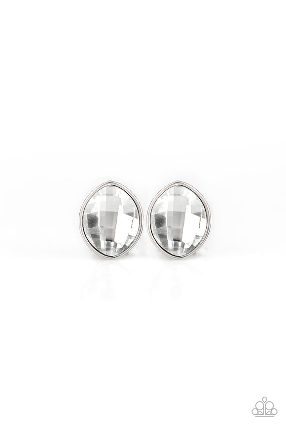 Movie Star Sparkle White Earring - Paparazzi Accessories