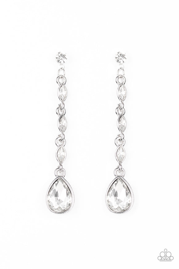 Must Love Diamonds White Rhinestone Earring - Paparazzi Accessories