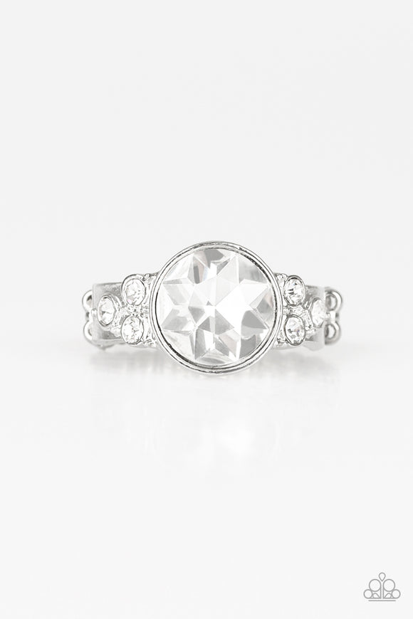 Poshly Pampered White Rhinestone Ring - Paparazzi Accessories