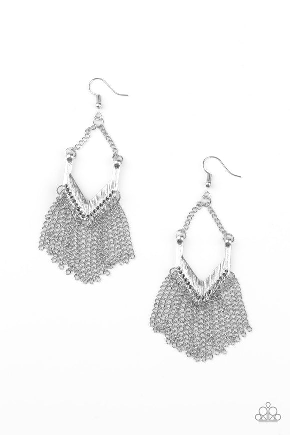 Unchained Fashion Silver Earring - Paparazzi Accessories